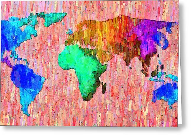 Abstract World Map Colorful 51 - Da Greeting Card by Leonardo Digenio