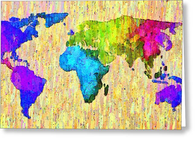 Abstract World Map Colorful 52 - Da Greeting Card