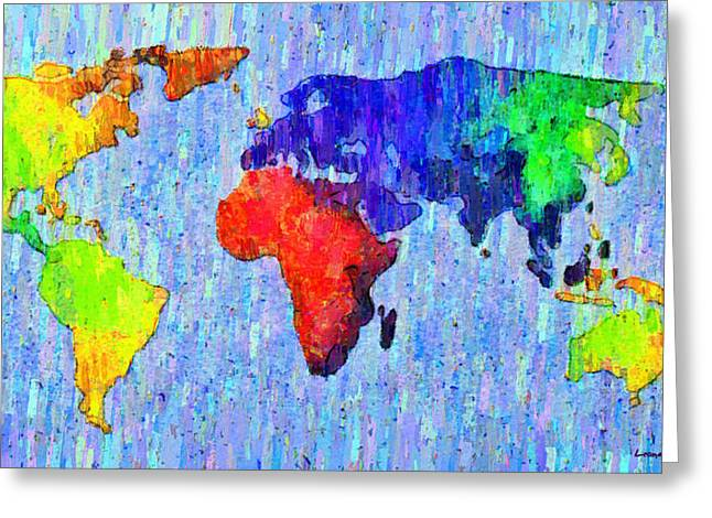 Abstract World Map Colorful 53 - Da Greeting Card by Leonardo Digenio