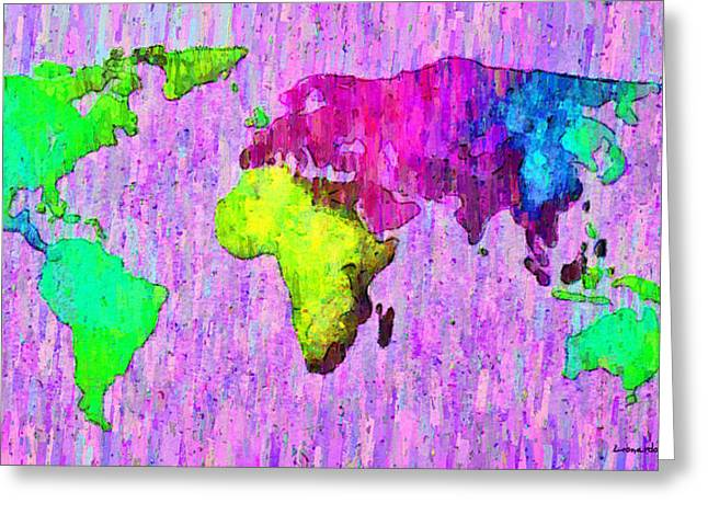 Abstract World Map Colorful 54 - Pa Greeting Card