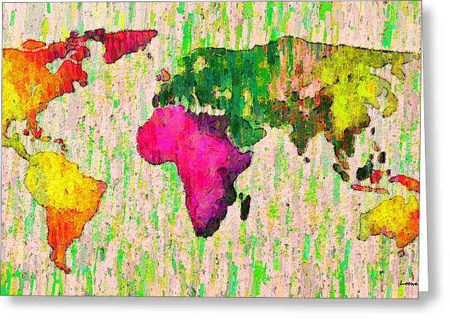 Abstract World Map Colorful 55 - Da Greeting Card by Leonardo Digenio