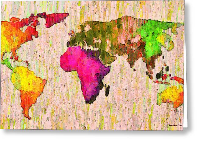 Abstract World Map Colorful 56 - Pa Greeting Card by Leonardo Digenio