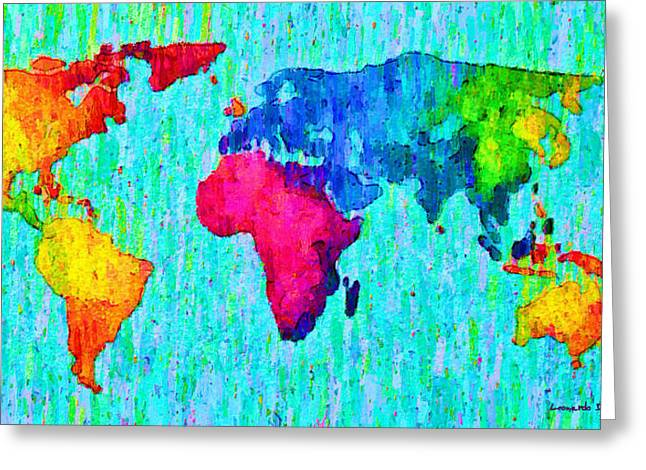 Abstract World Map Colorful 57 - Pa Greeting Card