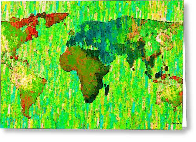 Abstract World Map Colorful 58 - Pa Greeting Card