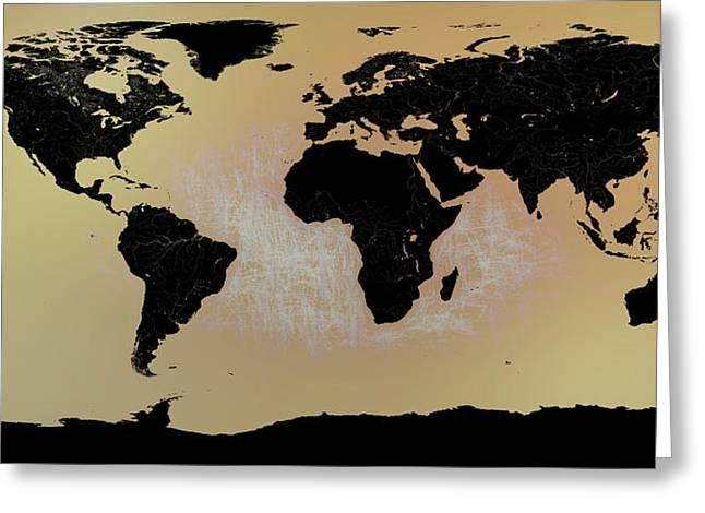 Abstract World Map0117 Greeting Card by Bob Orsillo