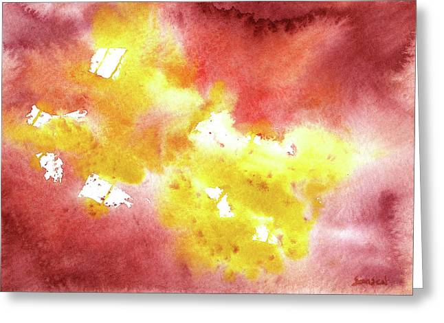 Abstract Yellow Connectors Greeting Card by Sean Seal