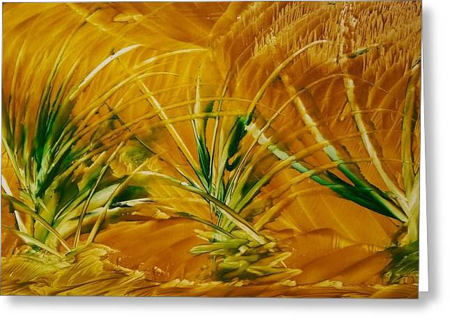 Abstract Yellow, Green Fields   Greeting Card