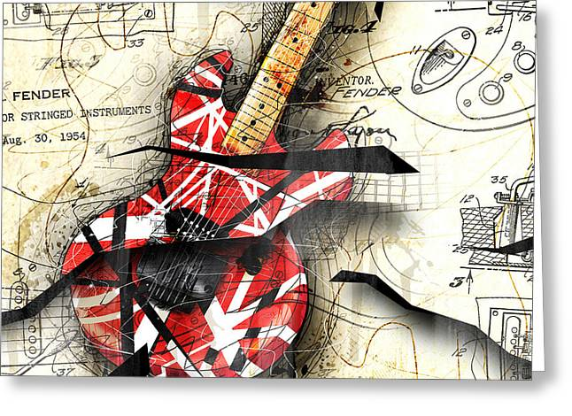 Abstracta 35 Eddie's Guitar Greeting Card by Gary Bodnar
