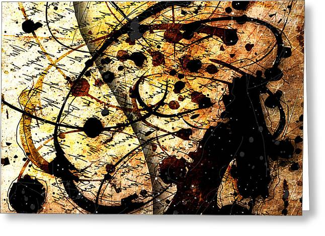 Abstracta_17 Antiqua Greeting Card by Gary Bodnar