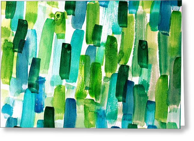 Abstractbrush Stroke In Watercolor Painitng Greeting Card by My Art
