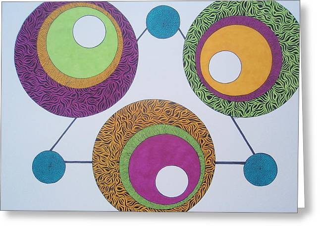 Greeting Card featuring the drawing Abstracted Circles by Beth Akerman