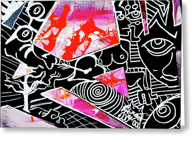 Greeting Card featuring the painting Abstractions by eVol i