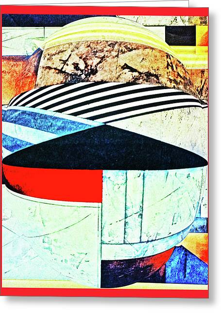 Abstracts On Red Greeting Card by Bruce Iorio
