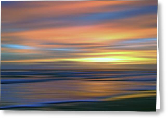 Abstract Sunset Illusions - Blue And Gold Greeting Card by Joann Vitali