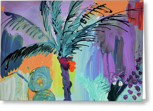 Abtract, Landscape With Palm Tree In California Greeting Card