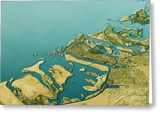 Abu Dhabi 3d Landscape View South-north Natural Color Greeting Card by Frank Ramspott