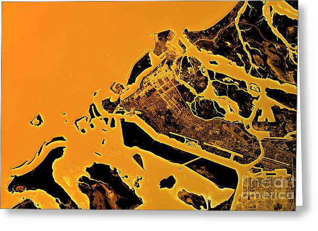 Abu Dhabi Abstract City Map Golden Greeting Card by Frank Ramspott