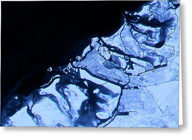 Abu Dhabi Abstract City Map Satellite Image Blue Greeting Card by Frank Ramspott