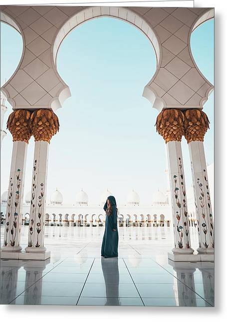 Greeting Card featuring the photograph Abu Dhabi Mosque by Oliver Sjostrom