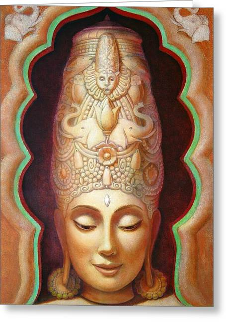 Hindu Goddess Greeting Cards - Abundance Meditation Greeting Card by Sue Halstenberg