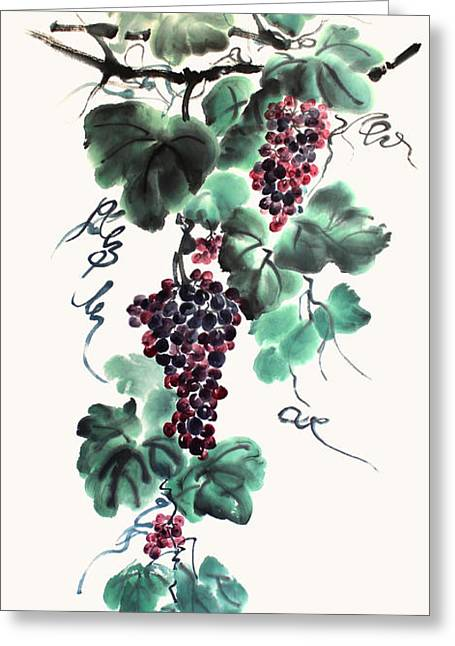 Abundant Grapes Greeting Card by Nadja Van Ghelue