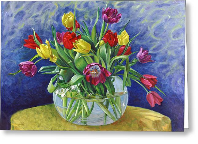 Abundant Tulips Greeting Card by Nancy Tilles