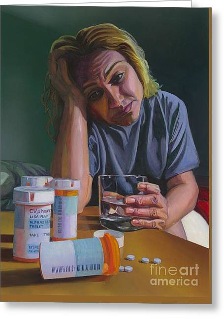 Abusing Prescription Drugs Greeting Card by Andrea Reyes