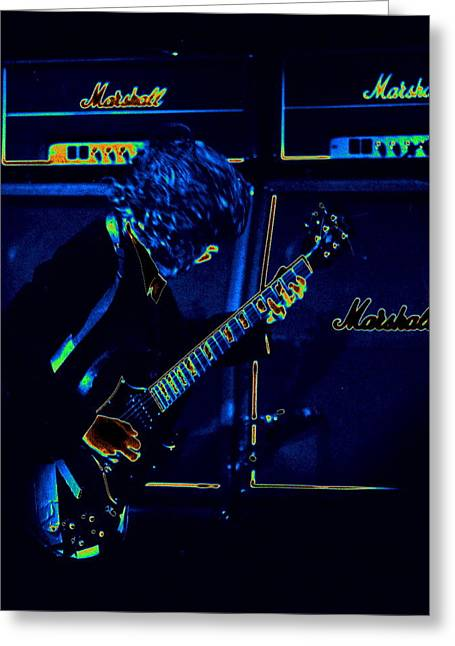 Angus Young Greeting Cards - AC DC Electrifies the Blues Greeting Card by Ben Upham