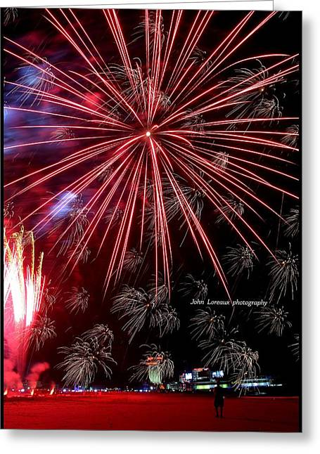 Ac Fireworks Greeting Card by John Loreaux