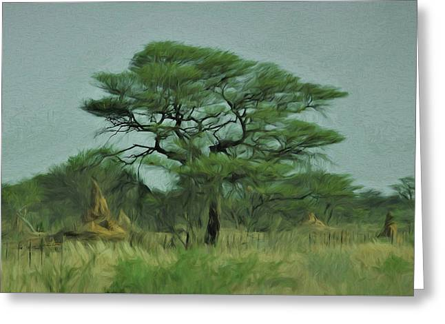 Greeting Card featuring the digital art Acacia Tree And Termite Hills by Ernie Echols