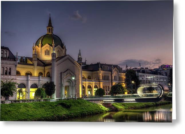Academy Of Fine Arts, Sarajevo, Bosnia And Herzegovina At The Night Time Greeting Card by Elenarts - Elena Duvernay photo