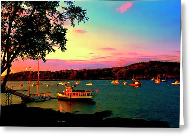 Greeting Card featuring the photograph  Acadia Bar Harbor Sunset Cruises by Tom Jelen