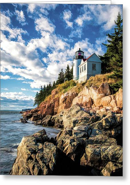 Greeting Card featuring the painting Acadia Bass Harbor Lighthouse by Christopher Arndt