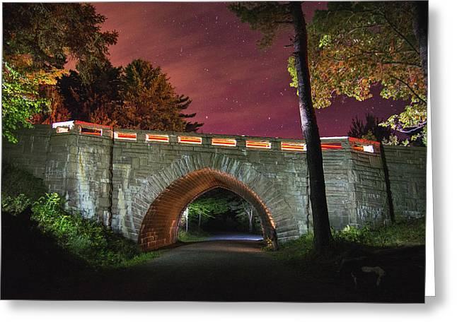 Acadia Carriage Bridge Under The Stars Greeting Card