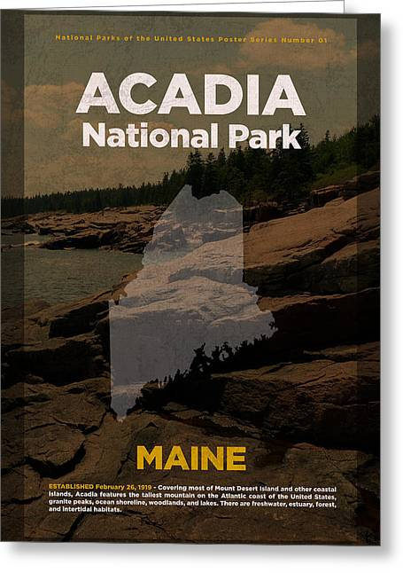 Acadia National Park In Maine Travel Poster Series Of National Parks Number 01 Greeting Card by Design Turnpike