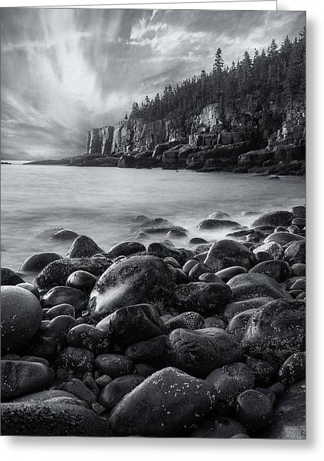 Acadia Radiance - Black And White Greeting Card
