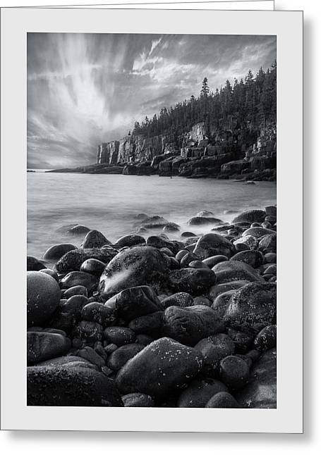 Acadia Radiance - Black And White Greeting Card by Thomas Schoeller
