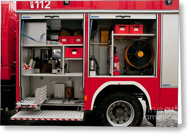 Accessories In Opened Fire Truck Greeting Card
