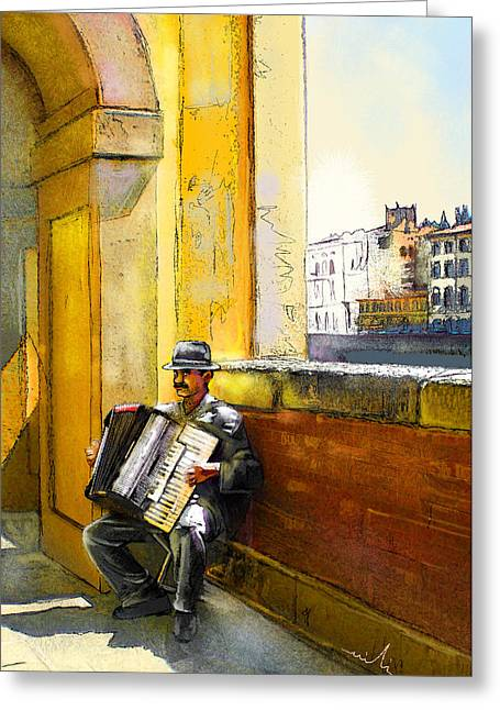 Accordeonist In Florence In Italy Greeting Card by Miki De Goodaboom