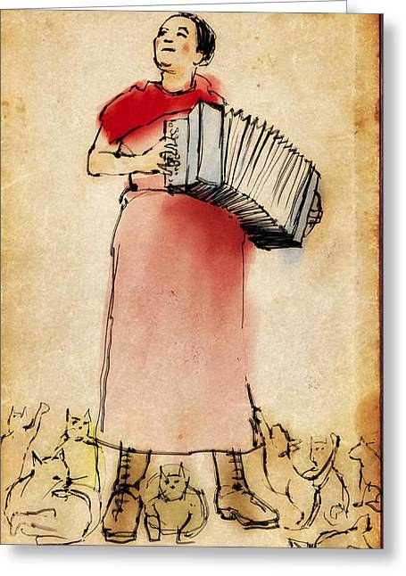 Accordian Player With Cats Greeting Card