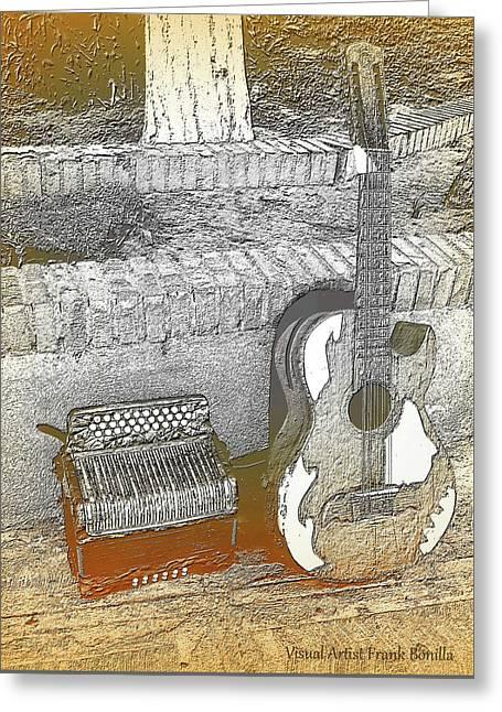 Accordion , Bajo Sexto Greeting Card by Visual Artist Frank Bonilla