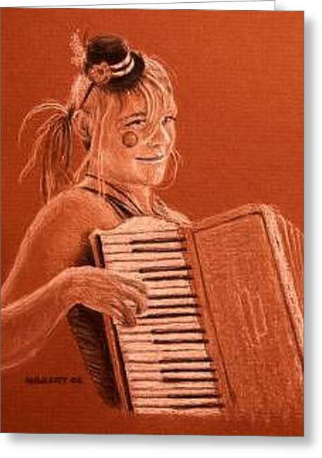 Accordion Girl Greeting Card by Michael Beckett