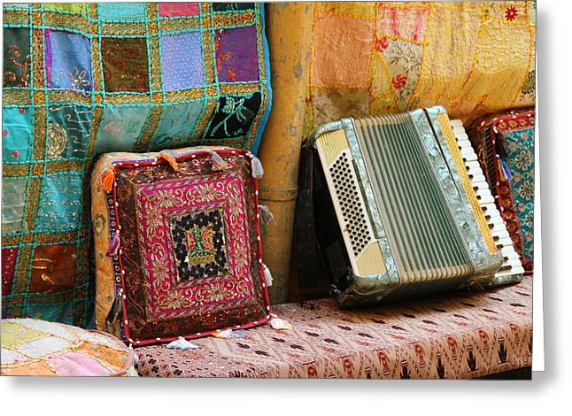 Accordion  With Colorful Pillows Greeting Card