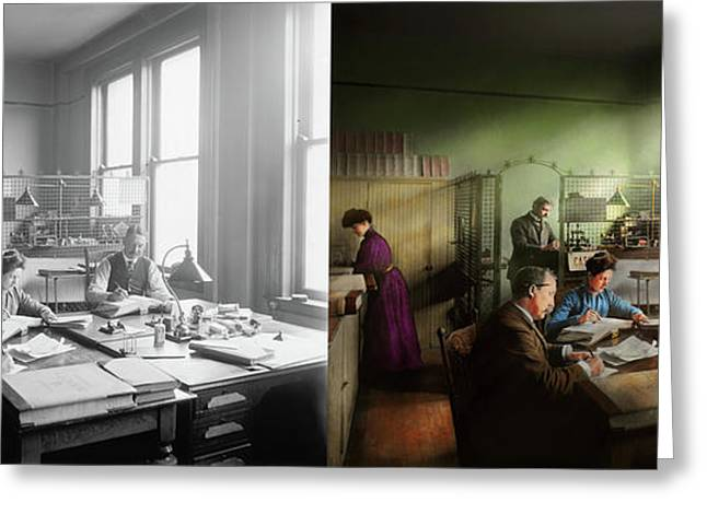 Greeting Card featuring the photograph Accountant - The- Bookkeeping Dept 1902 - Side By Side by Mike Savad