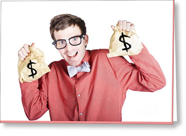 Accountant With Tax Return Greeting Card