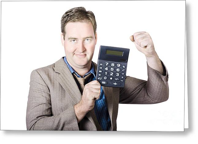 Accountant Working With A Calculator Greeting Card