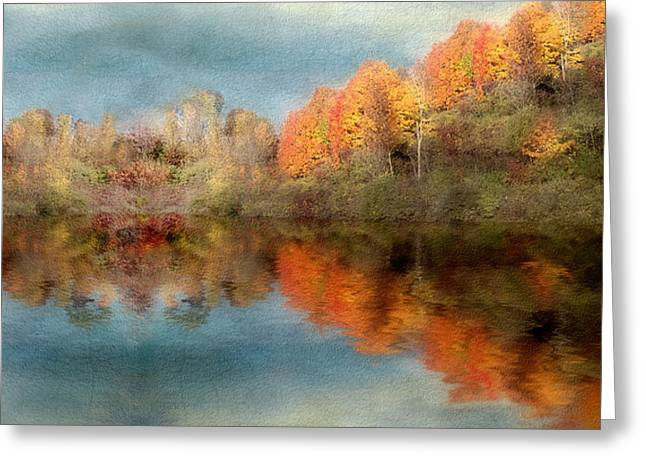 Accross The Lake In Autumn Greeting Card by Tom Mc Nemar