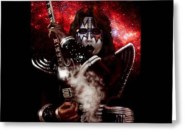 Ace Frehley Red Solo Space Greeting Card