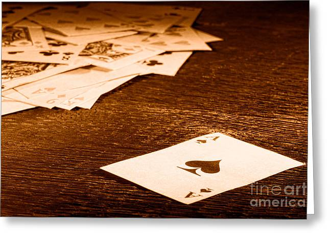 Ace Of Spade - Sepia Greeting Card by Olivier Le Queinec