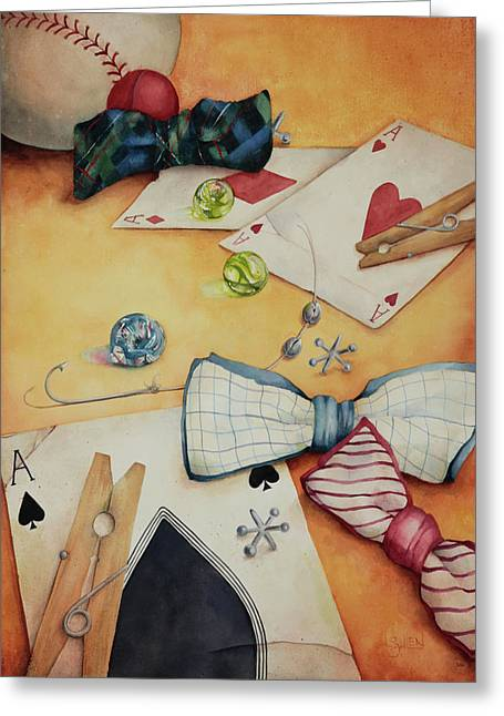 Aces And Jacks Greeting Card by Lorraine Ulen